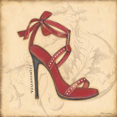 Fashionista Red Heel by Marrott, Stephanie Fashion Prints, Fashion Art, Fashion Shoes, Fashion Accessories, Shoe Art, Party Shoes, Vintage Boutique, Black Heels, High Heels