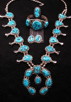 4-pc Navajo Turquoise Squash Blossom Necklace, Earrings, Bracelet & Ring Set