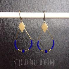 Earrings royal blue and bronze drops by Bohemian Blue Jewelry Diy Necklace Bracelet, Bead Earrings, Beaded Jewelry, Unique Jewelry, Jewelry Design, Earrings Handmade, Handmade Jewelry, Boho Hippie, Bijoux Diy