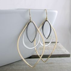 Bohemian Chic Earrings Gold Silver And Black Earrings Statement Earrings Modern Earrings Handmade Jewelry Gold Earrings Gift For Her by RhondaLynneJewelry on Etsy https://www.etsy.com/listing/249189505/bohemian-chic-earrings-gold-silver-and