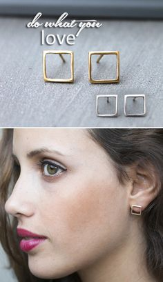 I designed these dainty gold / silver stud earrings thinking of modern day women: with smooth feminine curves yet flowing with powerful energy. For