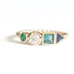 MIXED SHAPES GEMSTONE CLUSTER RING II-1