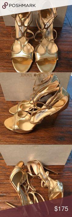 Authentic Jimmy Choo heels size 40.5 Absolutely gorgeous authentic JIMMY CHOO gold strapping sandals size 40.5. The mirror gold color is a show stopper! Worn once. Some wear and light scuffing. Jimmy Choo Shoes Heels