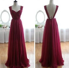 2013 Sexy Wine Red Sweetheart Neck Burgundy Chiffon Long Bridesmaid Dress / Prom Dress / Evening dress