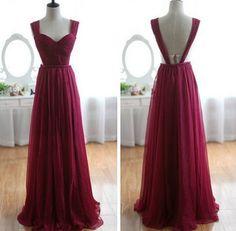 2013 Sexy Wine Red Sweetheart Neck Burgundy Chiffon Long Bridesmaid Dress / Prom Dress / Evening dress