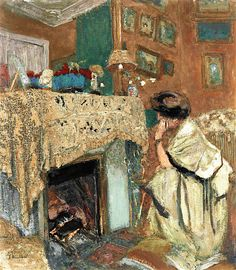 The Athenaeum - VUILLARD, Édouard French Nabi,Post-Impressionist (1868-1940)_Madame Hessel at the Fireside (also known as In front of the Fireplace)- 1917-1918