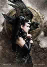 The Morrigan is a goddess of battle, strife, and fertility. She sometimes appears in the form of a crow, flying above the warriors, and in the Ulster cycle she also takes the form of an eel, a wolf and a cow. She is generally considered a war deity comparable with the Germanic Valkyries, although her association with cattle also suggests a role connected with fertility, wealth, and the land. She is often depicted as a triple goddess.