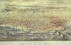 St. Louis in 1874 Antique Reproduction Map $32.50