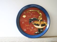 Rustic Snowman Plate~ Hand Painted Christmas Snowman Rubbermaid Plate in Cobalt Blue~ May all your days be snowy and bright!