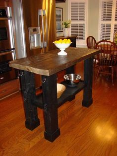 Reclaimed Wood Kitchen Island. Would go so well with our current colors