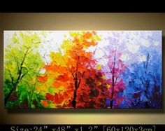 contemporary wall art,Palette Knife Painting,colorful Park painting,wall decor Home Decor,Acrylic Textured Painting ON Canvas by Chen – easy paint – acryl Texture Painting On Canvas, Palette Knife Painting, Textured Painting, Abstract Landscape Painting, Landscape Paintings, Acrylic Paintings, Abstract Canvas, Painting Art, Image Nature