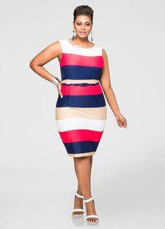 Ponte Bold Stripe Sheath Dress Ponte Bold Stripe Sheath Dress