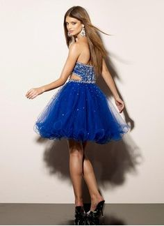 A-Line/Princess Sweetheart Short/Mini Satin Tulle Homecoming Dress With Beading