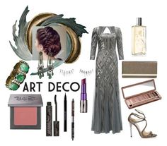 """""""Untitled #295"""" by vintagelady52 ❤ liked on Polyvore featuring Universal Lighting and Decor, Adrianna Papell, Jimmy Choo, Urban Decay and Guerlain"""