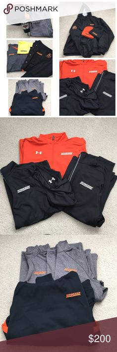 Schneider Trucking Bundle All men's clothing items size M or L 3 Under Armour Quarter Zip Sweatshirts Heavy jacket, sweatshirt, long sleeves, lots of polos, coffee mug, 2 beanies   Some items say Intermodal division USA *Trying to sell everything together* Under Armour Shirts Sweatshirts & Hoodies