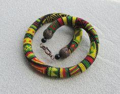 Beaded crochet necklace Colours of Africa by DolgovaSvetlana, $59.00