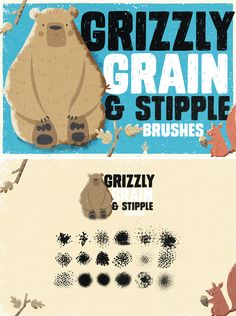 Grizzly Grain & Stipple Shader Brushes for Photoshop Brush Type, Stippling, Photoshop Brushes, Your Image, Grains, Templates, Design, Stencils, Korn