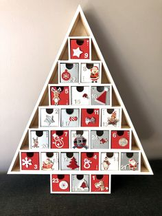 Wooden Advent Calendar - Scandinavian Theme - 24 boxes to fill - silver and red white - Unique Piece Office Christmas, Christmas Projects, Christmas Crafts, Christmas Decorations, Holiday Decor, Wood Advent Calendar, Bunting Tutorial, Hanukkah Crafts, Small Figurines