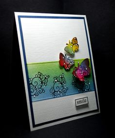 Eileen's Crafty Zone: Distress Inks and Designs By Ryn 'Sea Bubbles' Stamp. Faded Jeans, Mowed Lawn and a touch of Mustard Seed for the background.