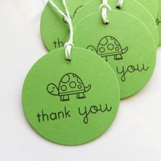 Turtle Tags Thank You  Set of 8  Custom by FreshLemonBlossoms, $5.75 (I have this stamp already!)