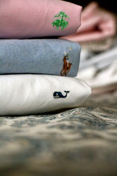 The oxford trifecta: Brooks Brothers, Ralph Lauren, and Vineyard Vines.