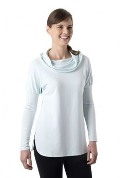 Cozy Cowl - Women's cowl neck long sleeve shirt in ice blue
