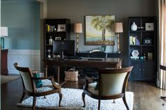 Offices are essential in today's homes. See how top designers pair color palettes and the right furnishings to create a functional home office.