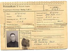 This identity card was issued to Peter Stevens when he was a German Prisoner of War. Little did they know that he was a Jew whose real name was Georg Franz Hein. Read the whole story in the book Escape, Evasion and Revenge written by his son Marc Stevens.