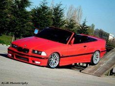 BMW E36 3 series red cabrio