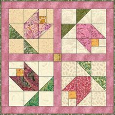 Victorian Tulip Love this Look at what a difference turning the block at an unanticipated angle can make.chg (for my butterfly quilt) Barn Quilt Patterns, Pattern Blocks, Quilting Patterns, Patchwork Patterns, Star Patterns, Small Quilts, Mini Quilts, Quilting Projects, Quilting Designs