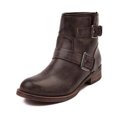 Buckle down this season with the trendy new Jo Jo Boot from SHI by Journeys! Tie any ensemble together with the Jo Jo Boot, featuring an ankle boot design with vintage washed uppers and buckle strap details.     Features include   Synthetic leather upper with breathable textile lining   Side gusset with buckle detail   Lightly padded footbed for comfort   Durable rubber outsole provides flexible traction
