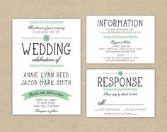 Wedding Invitation and RSVP - Wedding invitations with mixed Typography. Printable DIY. Vintage modern (1012)