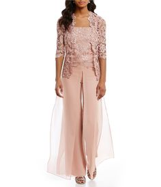 Plus Size Set Lace Cardigan Long Chiffon Pants Women Set Mother Of The Bride Trouser Suits, Mother Of Bride Outfits, Mob Dresses, Fashion Dresses, Chiffon Pants, Lace Chiffon, Wedding Pantsuit, Lace Cardigan, Pink Outfits
