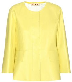 Yellow MARNI  leather jacket  for woman Yellow Leather Jacket By Marni #chaquetadecuero #polipiel #biker #ante #anteflecos #pielflecos #polipielflecos #antelina #decuero #leather #suede #suedette #fauxleather