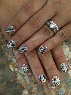 Cheetah and Zebra Rock Star Nails