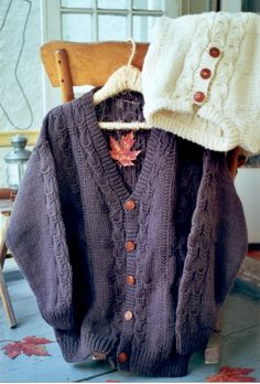 Knit a cardigan or knit a pullover with a cable and fences motif - maddy laine Knitting Patterns