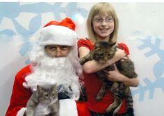 Shelby, Cloudy and Jackson visiting Santa at PetSmart