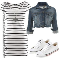 """""""Oh Spring...""""   I just love this dress ! I would wear this all but with out the denim jacket"""