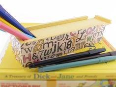 Type Face Back to School Pencil Box by Walter Silva, $15.00