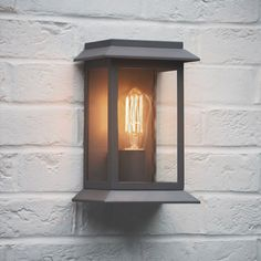 Grosvenor Outdoor Wall Mounted Porch Light in Charcoal from The Farthing