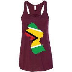 Guyana flag-01 Bella + Canvas Flowy Racerback Tank