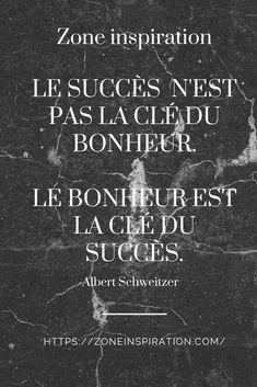 Voici une citation que j'adore!  #citation #succes #bonheur Albert Schweitzer, Stress, Marketing, Voici, Inspiration, Cover, Books, Movie Posters, Quote