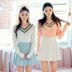 Students sweet candy color pleated skirt from Asian Cute {Kawaii Clothing} Korean Fashion Pastel, Korean Fashion Summer, Summer Fashion For Teens, Korean Street Fashion, Asian Fashion, Harajuku Fashion, Kawaii Fashion, Fashion Outfits, Style Casual