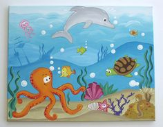 Under the Sea, Underwater Painting on Canvas via Etsy - Design Art Painting For Kids, Drawing For Kids, Art For Kids, Under The Sea Drawings, Ocean Mural, Underwater Painting, Underwater Room, Sea Art, Art Plastique