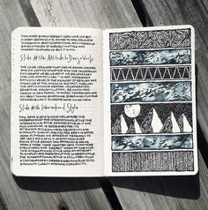 love the page of journaling partnered with a page of sketching; Moleskine brand