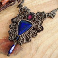Macrame Necklace Pendant Cabochon Lapis Lazuli Cotton Waxed Cord Handmade #Handmade #Wrap