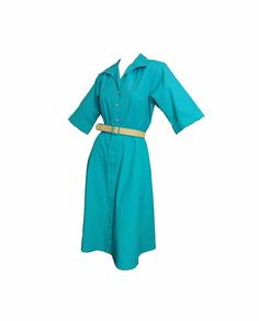 Fit and Flare 80s does 50s Vintage 1980s Day Dress Kelly Green