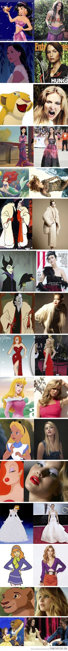 Jennifer Lawrence as cartoon characters…