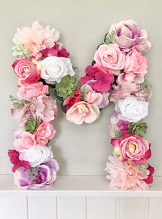 70 Ideas for baby girl nursery floral flower letters Floral Nursery, Nursery Decor, Girl Nursery, Flower Letters, Pink Birthday, 21st Birthday, Paper Flowers Diy, Colorful Party, Birthday Decorations