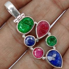 Precious Ruby, Emerald, and Sapphire Pendants - pinned by pin4etsy.com